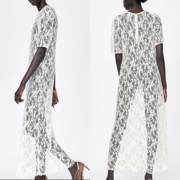 Zara Soft White Lace See Through Maxi Dress Szs